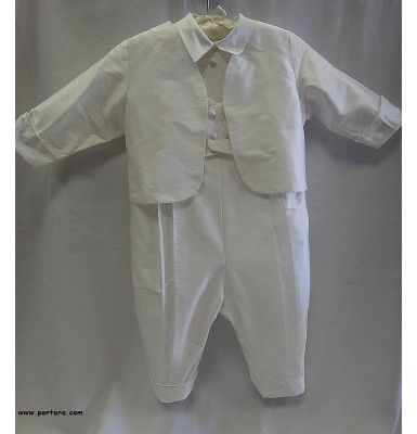 Dennis Pearl White Silk Christening Baptism Outfit