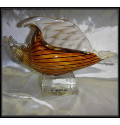 Art Glass Seashell On Base