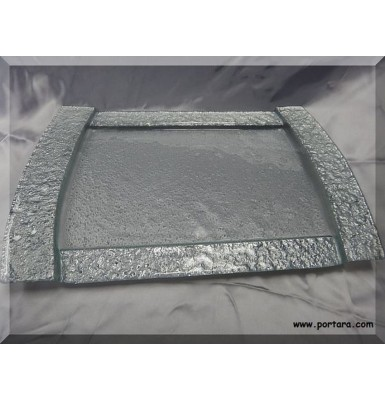 Stunning Silver Band Tray with Rectangular Shape