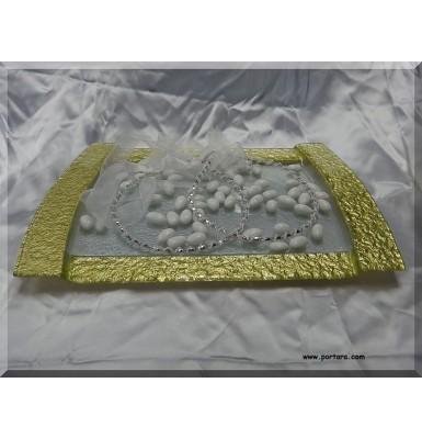 Rectangular Gold Band Tray