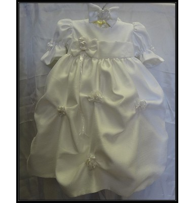 Antonia Pure White Shantung Baptism Gown or Dress w/White Flowers