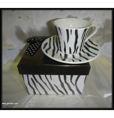 Stylish Black and White Zebra Porcelain Espresso Coffee Cups Favor Idea
