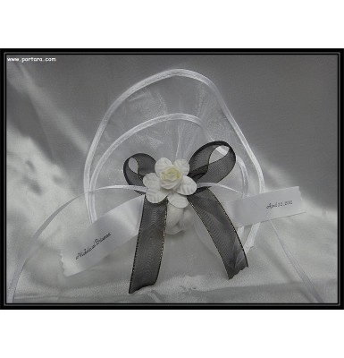 White Organdy Favor with Satin Edges and Black Accents