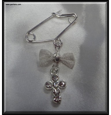 A Safety Pin with a Bow and Crystal Cross Witness Pins Martyrika ~ Unisex