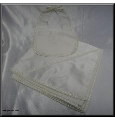 Gorgeous Unisex Silk Ecrou Baptism Blanket and Bib