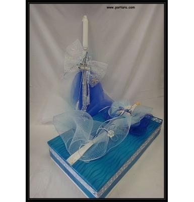 Nautical Theme Baptismal Candle Set