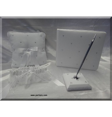 A Sparkling Swarovski Crystal Beauty Guest Book with Pen and Pillow Set in White