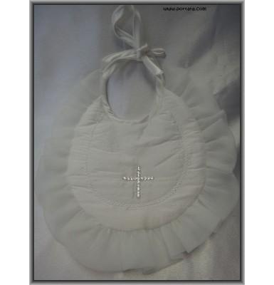 Girls Pearl White Silk Baptismal Bib with Swarovski Crystals AB Cross