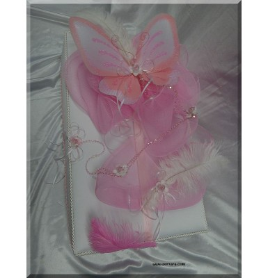 Butterfly with Feathers Silk Baptism Memory Box