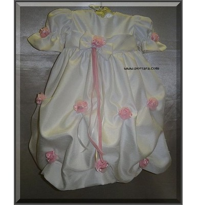 Antonia Pure White Shantung Christening Gown or Dress with Pink Flowers