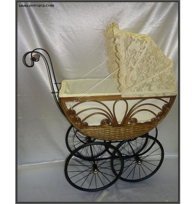 Amazing Heirloom Baptism Wicker Stroller with Lace