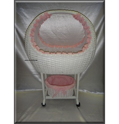 Wicker Bed Crib Cot with Stand and Tidy Basket