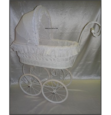 Adorable All White Wicker Baptism Classic Carriage Stroller