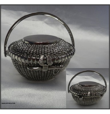 Beaded Antique Silver Box Gift Favor