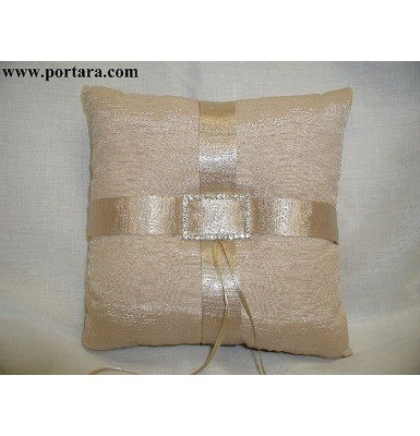 Faux Silk Taupe Ring Pillow