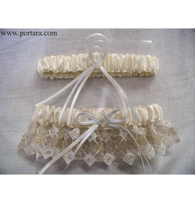 Ivory Embroidered Gold Thread Organza Garter Set
