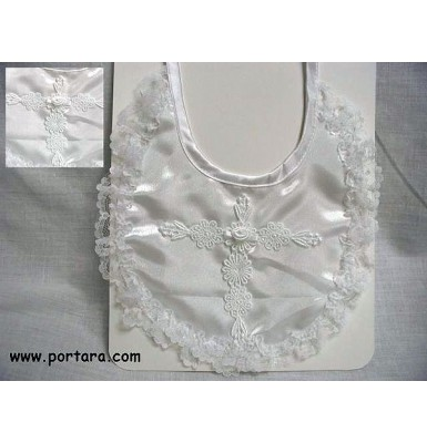 Gorgeous Girls Baptismal Bib with Embroidered Cross