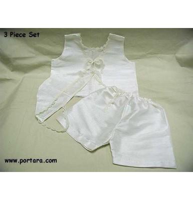 Boys Pearl White Silk Christening Undergarments ~ Lathorouha