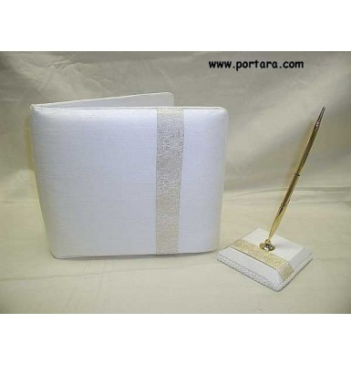 Ivory Embroidered Gold Thread Guest Book and Pen Set