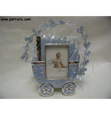 Blue Baby Carriage Frame Baby Shower Favor