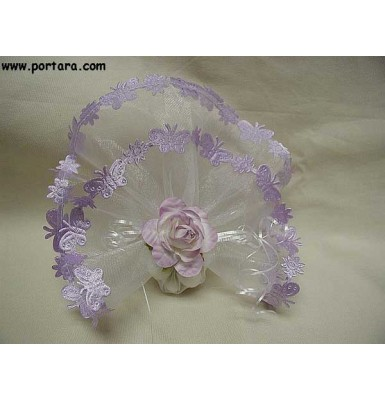 White Organdy Circle with Satin Butterfly Border