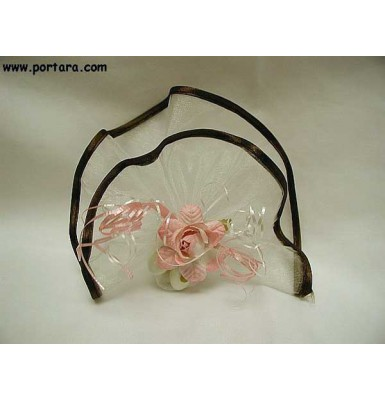 Brown Organdy Circle with Satin Edges Favor