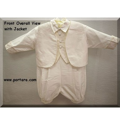 Jacob Ivory Silk Christening Baptism Outfit