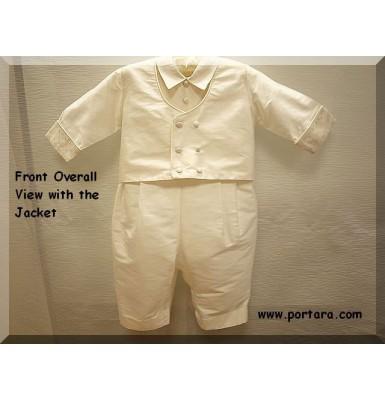 Fabulous European Style Ecrou Silk Baptism Outfit