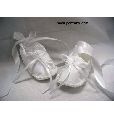 Lovely White Ballerina Christening Shoes with Pearls