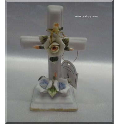Blue Capodimonte Porcelain Cross Baptism Favor