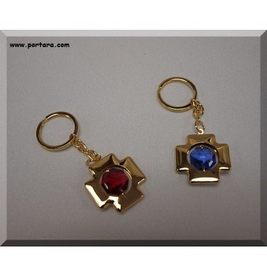 24K Gold Plated Cross Keychains with Austrian Crystals Favor Gift Idea
