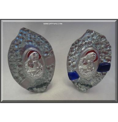 Murano Icon Virgin Mary with Silver Pebble Glass Design Favor ~ Unisex