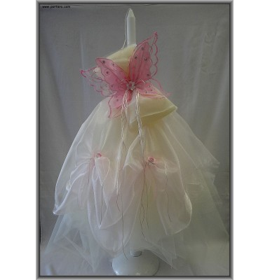 Baptism Candle Accented with a Gorgeous Butterfly