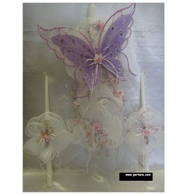Artistic Butterfly with Crystals Christening Baptism Candle ~ Lambatha