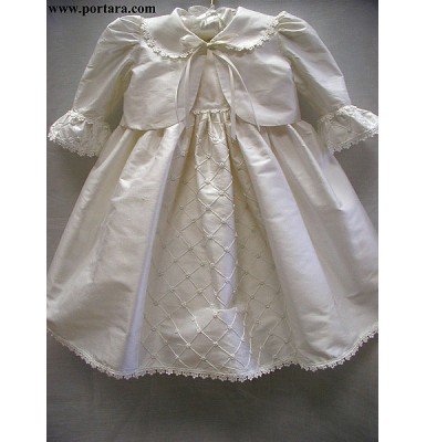Ariadne Silk Baptism Christening Dress with or without Jacket