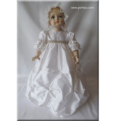 Aldora with Crystals Silk Christening Baptism Gown or Dress