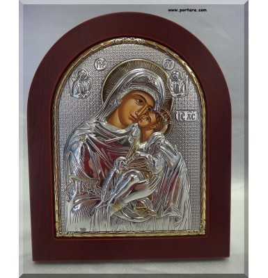 Virgin Mary Silver with Gold Icon on Mahogany Wood