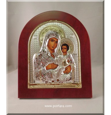 Virgin Mary of Jerusalem ~ Silver and Gold and Mahogany Wood Frame