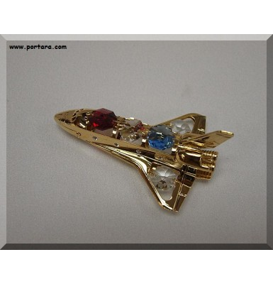 24K Gold Plated Space Shuttle with Austrian Crystals Gift Favor Idea