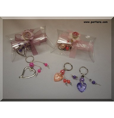Lovely Worry Beads Hearts with Pearls Key Chains Gift Favors