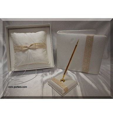 Ivory Embroidered Gold Thread Guest Book with Pen and Pillow Set