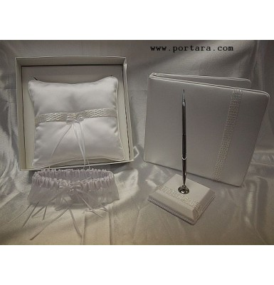 A White Pearl Beauty Guest Book, Pen, Pillow and Garter Set