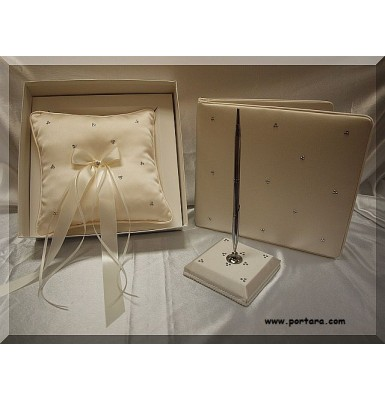 A Sparkling Swarovski Crystal Beauty Guest Book with Pen and Pillow Set in Ivory
