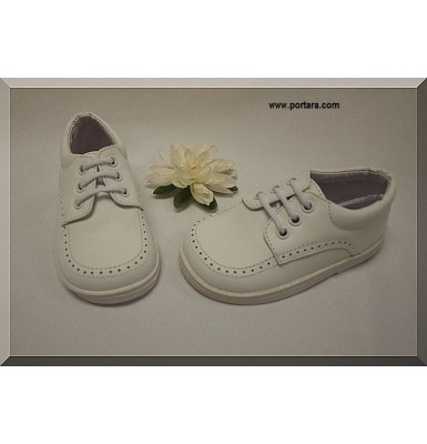 Adorable Boys White Leather Shoes with Simple Design