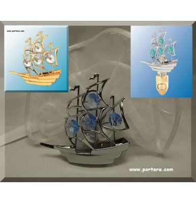 Sailboat Night Light with Austrian Swarovski Crystals Gift Favor