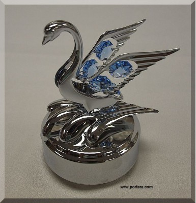 Large Swan with Austrian Crystals Chrome Plated Music Box Gift Favor