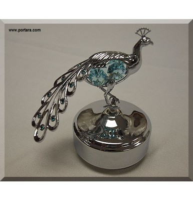 Large Peacock Chrome Plated Music Box Gift Favor
