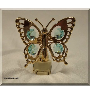Butterfly Night Light 24K Gold Plated with Austrian Crystals