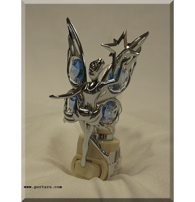 Fairy with Star Nightlight Chrome Plated with Austrian Crystals Gift Favor