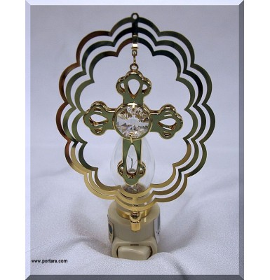 Cross Night Light 24K Gold Plated with Austrian Crystals